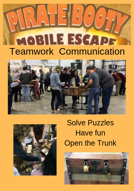 Teams working to solve puzzles in order to open the final trunk